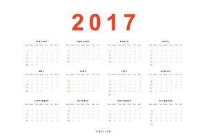 Calendar 2017 in english