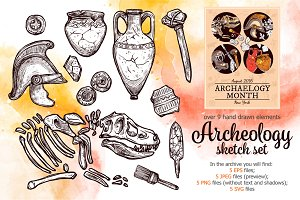 Archeology sketch set