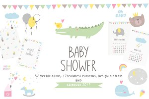 Baby Shower invite, pattern calendar