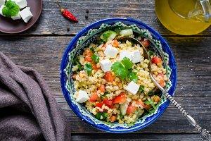 Healthy salad with bulgur