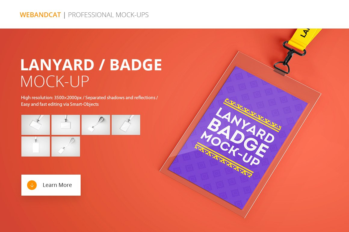 Name Badge: Lanyard Name Tag Badge Mockup
