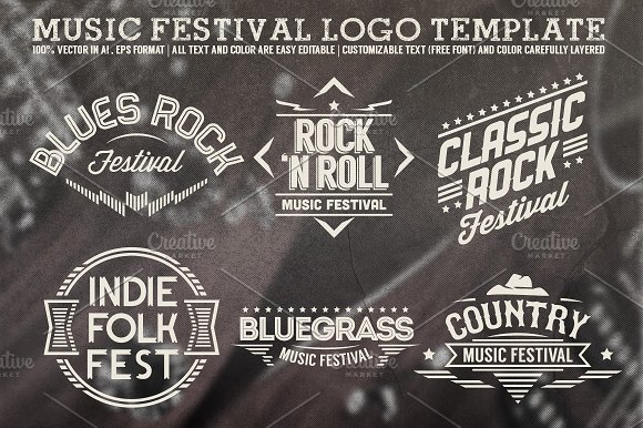 music festival logo template logo templates creative market