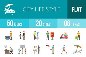 50 City Life Flat Multicolor Icons