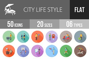 50 City Life Flat Shadowed Icons