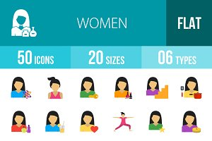 50 Women Flat Multicolor Icons