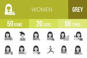 50 Women Greyscale Icons