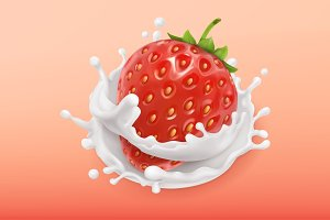 Strawberry and milk splash.3d vector