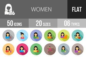 50 Women Flat Shadowed Icons