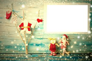 Cheerful Christmas photo frame card