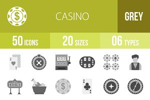 50 Casino Greyscale Icons
