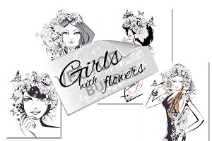 Set of girls with flowers.