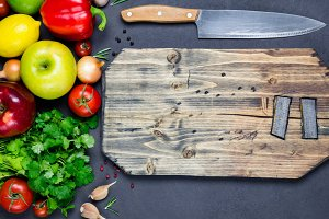 Fresh vegetables and cutting board