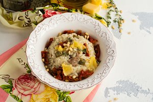 Gourmet risotto with duck meat