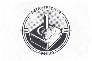 Retro 70's Videogame Joystick Emblem