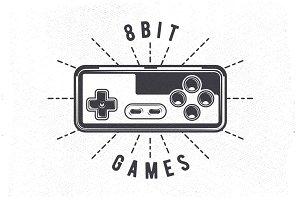 Retro 80's Videogame Joystick Emblem