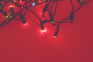 Festive lights on red