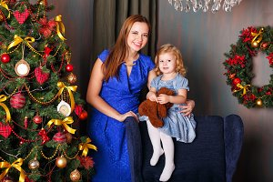 Mother and daughter. Christmas