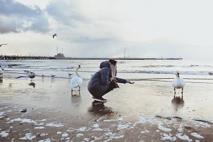Girl and white swans on sea beach