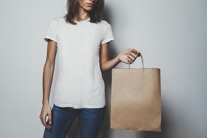 Mock-up of craft bag and t-shirt