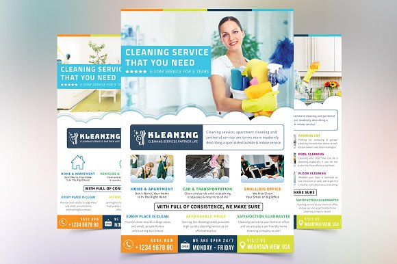 cleaning service flyer flyer templates creative market. Black Bedroom Furniture Sets. Home Design Ideas