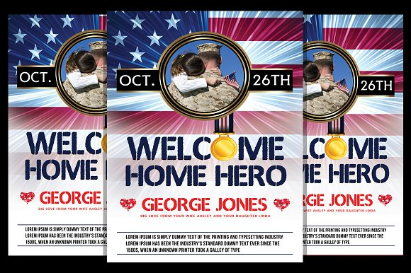 welcome home party flyer templates creative market