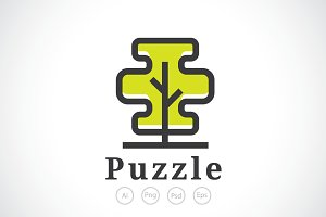 Puzzle Tree Logo Template