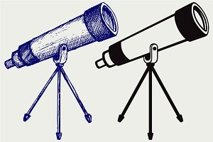 Telescope in tripod SVG
