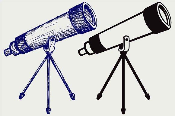 Telescope In Tripod SVG DXF