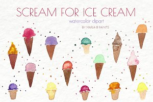 Watercolor Clip Art - Ice Cream Cone
