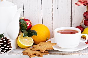 Tea with cookies and oranges for Christmas