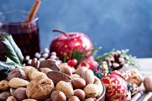 Variety of nuts with shells for Christmas