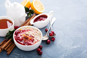 Fall breakfast with oatmeal and cranberry sauce