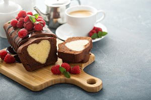 Surprise cake with a heart inside