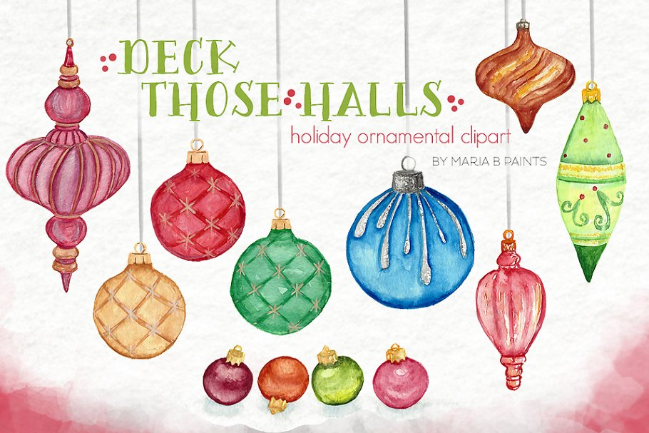 Watercolor Clip Art Ornaments