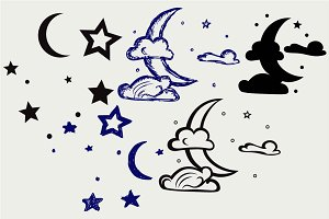 Moon and stars SVG