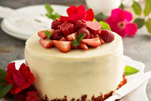 Red velvet cake decorated with strawberry