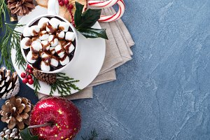 Christmas hot chocolate with festive decorations