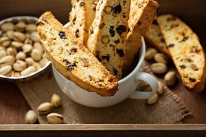 Homemade biscotti in a big cup
