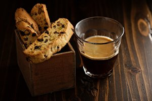 Homemade biscotti with coffee
