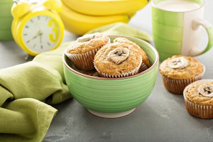 Banana muffins with coffee