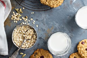 Healthy oatmeal cookies with dried fruits