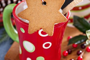 Hot cocoa mug with gingerbread cookie