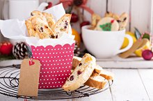 Christmas biscotti in a gift box