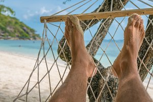 Relax on the Beach in Hammock, Haad Rin , Koh Pangang