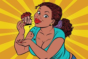 Diet concept woman eating cupcake