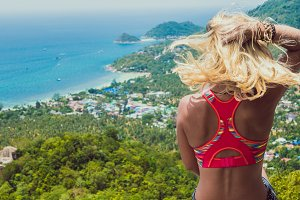Young Beuatiful Girl on Koh Tao Viewpoint to Sairee Beach and Nang Yuan Island