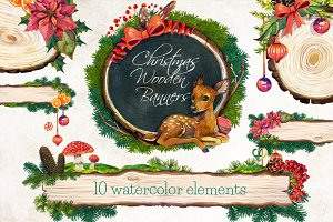 Christmas Wooden Banners 10 elements