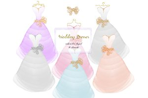 Wedding dresses clipart, glitter