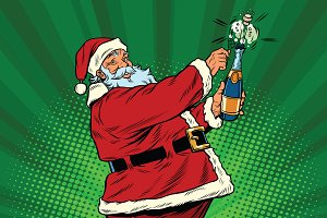 Santa Claus opens champagne