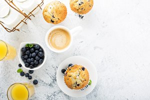 Bright and airy breakfast with blueberry muffin